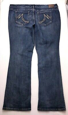 E367 Maurices Low Rise Bootcut Super Stretch Jean Tag sz 24 Long (Mea 44x33.75)