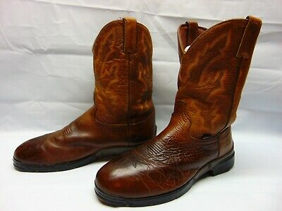 fb84ab574fd JUSTIN MENS SIZE 9.5 B George Strait Blue Green Leather Cowboy Boots ...