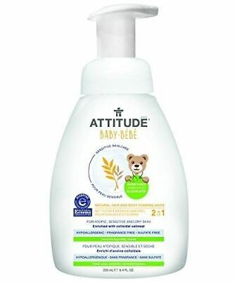 Attitude 2-in-1 Natural Hair and Body Foaming Wash Baby, Fragrance Free, 8.4 Flu