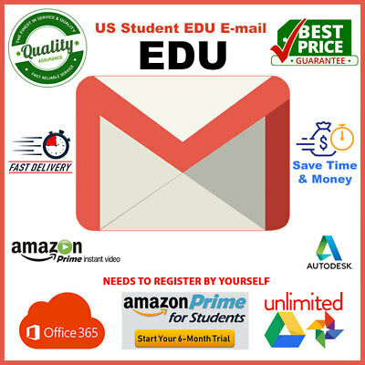 EDU Email 6 Months Amazon Prime 🔥Unlimited Google Drive Storage US Student Mail