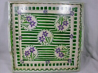 Vintage Barbara Finsness Bermuda Hand Painted Signed Floral Wood Serving Tray