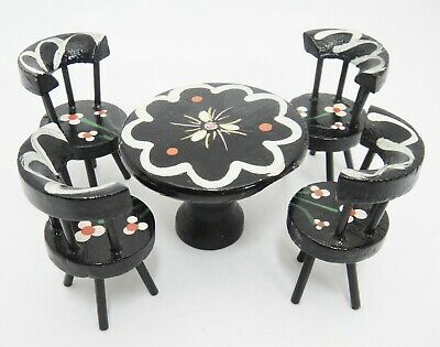 Dollhouse Miniature Round Wood Table and 4 Chairs Painted Black White Flowers