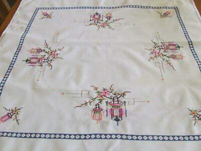 Embroidered Cross Stitched Table/Suppercloth - Chinese Lanterns - 80 cm square