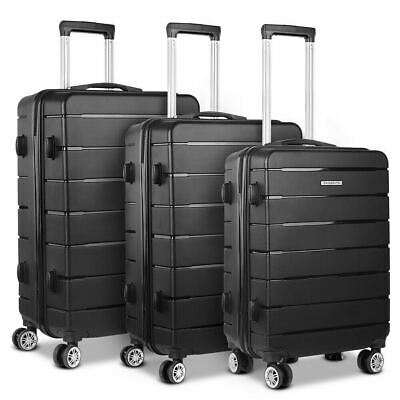 Wanderlite 3PC PP Luggage Suitcase Trolley TSA Travel Lightweight Hard Case BK