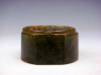 Vintage Nephrite Jade Stone Carved Seal Paperweight Furious Curly Dragon #062419