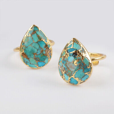 Adjustable Gold Plated Teardrop Copper Blue Real Turquoise Cuff Open Ring BG1836
