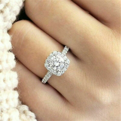 Luxury White Sapphire Silver Plated Promise Ring Wedding Jewelry Gift Size 5-10