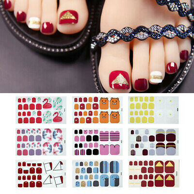 Full Cover Toenail Sticker Flower Pattern Waterproof Nail Wraps Toe Nail Decals