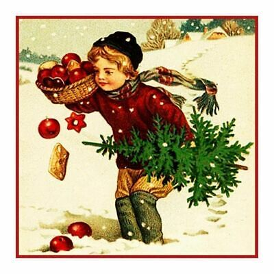 Vintage Christmas # 508 Holiday Tree Boy Counted Cross Stitch Pattern