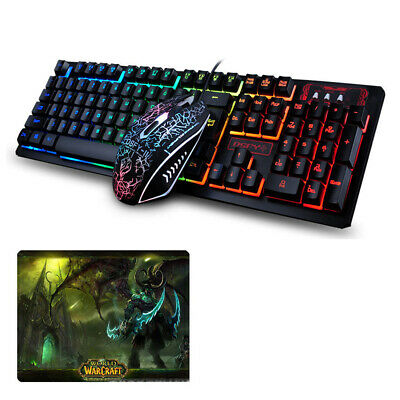 d2e2cd36cf5 K13 Wired Rainbow Backlit of USB Gaming Keyboard + Optical Mouse Sets +  Mousepad