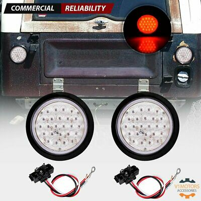 "2x 4"" Round Red 24 LED Truck Trailer Stop Turn Tail Lights w/ Grommet Clear Lens"