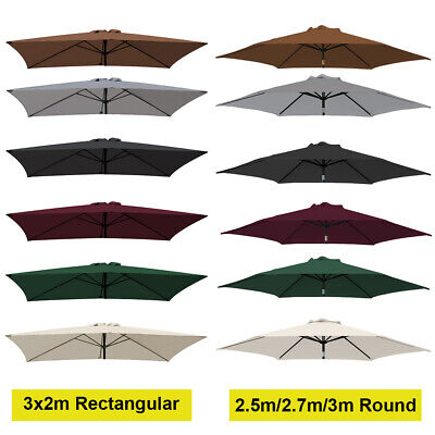 2.5m 2.7m 3m 3x2m Replacement Fabric Parasol Canopy Cover for 6 8 Arm Umbrella