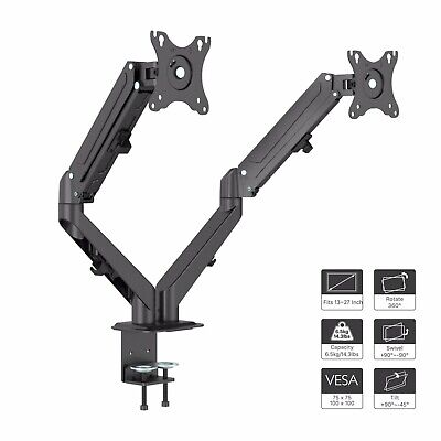 """Ergonomic Gas Powered Dual Twin Arms Desk Mount Stand for 13""""-27"""" LCD Monitors"""