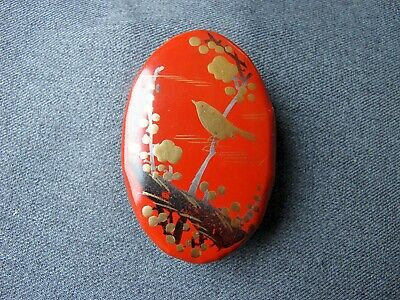 Vintage hand painted bird in a branch lacquered papier mache small box Japan