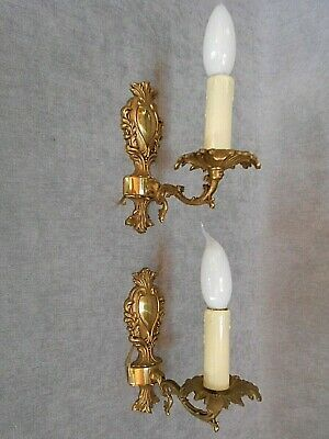 Pair vintage french bronze Wall LIGHT SCONCES