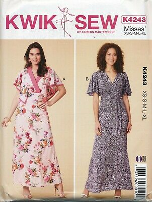 Kwik Sew Sewing Pattern 4243 Misses 8-22 Wrap Bodice Maxi Dress, Princess Seams