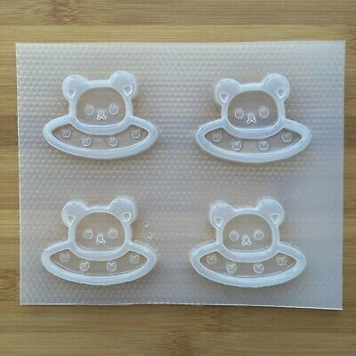 Kawaii Bear UFO Shaker Resin Mold Plastic Flexible Mould Food Safe Cute Space