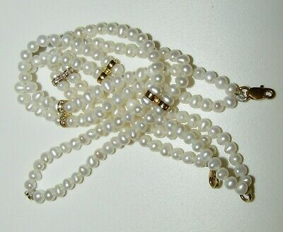 Beautiful, Vintage, Pair Of Pearl Bracelets With Diamonds, 18 Ct Gold Clasp