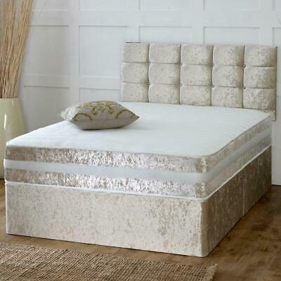 Crushed Velvet Divan Bed Set With Mattress and Plain Headboard - Free Delivery