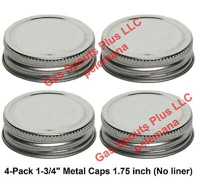"""4-Pack 1-3/4"""" Steel Cap Replacement Gallon Oil Can Gas Eagle 1.75 inch Metal Lid"""