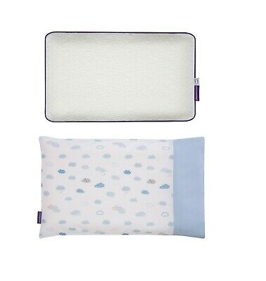 Clevamama ClevaFoam Baby Pillow + Pillowcase 100% Cotton (Blue)
