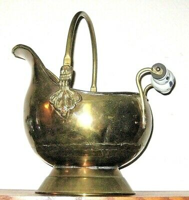 """Vintage Scuttle Solid Brass Pot with Delft Handle Lion Head Fittings 9"""" Tall"""
