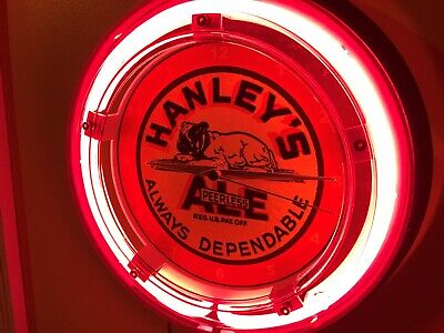 Hanley's Ale Bulldog Beer Bar Advertising Man Cave Neon Wall Clock Sign