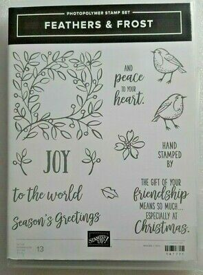 Stampin Up Retired Photopolymer Stamp Set FEATHERS & FROST  *Brand NEW*
