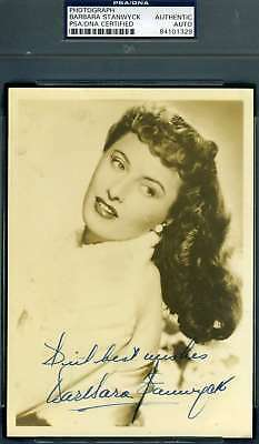 BARBARA STANWYCK PSA DNA Cert Hand Signed 5x7 Vintage Photo Autograph Authentic