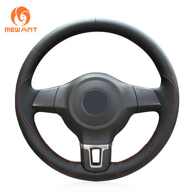 Black Leather Steering Wheel Cover Wrap Around for Volkswagen Golf 6 Polo MK5