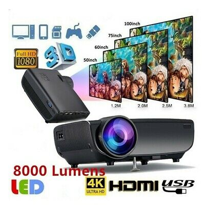 WIFI 3D Full HD 1080P ANSI LED Projector Home Cinema Projectors AV/2USB/HDMI AU