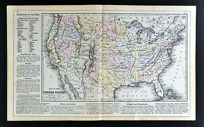 1882 Cowperthwait Map United States Indian Territory Oklahoma Dakota Texas Utah