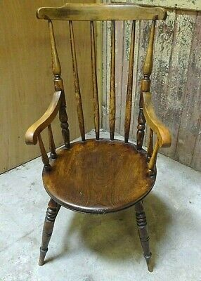 19thC Antique OAK Stick Back Scroll Arm WINDSOR ARMCHAIR *Free 4m del
