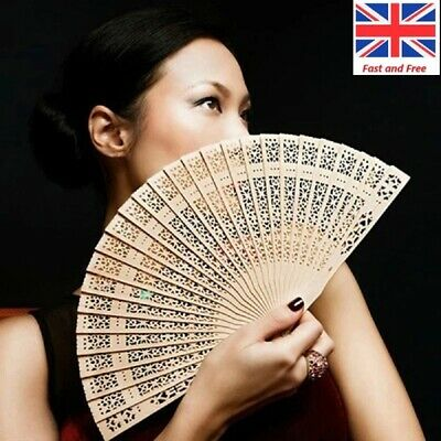 New Original Chinese Folding Bamboo Wooden Carved Hand Fan fit Wedding Party UK