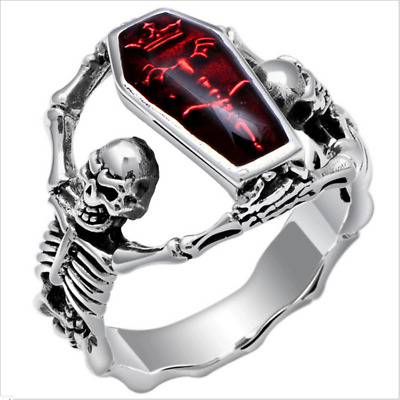Vintage Antique Stainless Steel Skull Ring Biker Rock Punk Fashion Men's Jewelry