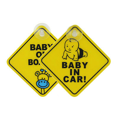 HR- Baby on Board Car Warning Safety Suction Cup Sticker Waterproof Notice Board