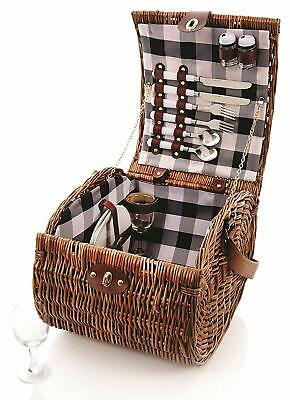 Premier Willow Wicker Fitted Picnic Basket Hamper for 2 People