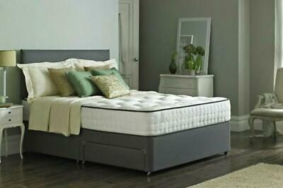 Impeccable Memory Foam Suede Divan Bed Set With Mattress and Headboard