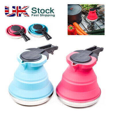 UK Silicone Collapsible Folding Kettle Kitchen Camping Hob Gas Stove 1.5L