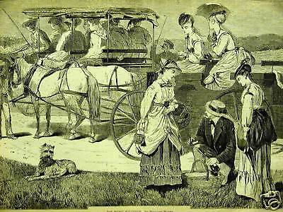 Winslow Homer 1869 THE PICNIC EXCURSION Antique Print Matted