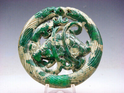 Old Nephrite Jade Stone Carved LARGE Pendant 2 Dragons Dragon Turtle #06261903