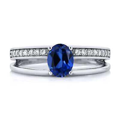 1.16 Ct Oval Blue Simulated Sapphire 925 Sterling Silver Ring