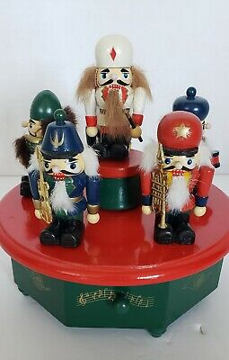 Vintage Deluxe Wooden Nutcracker Music Box With Moving Nutcrackers Handcrafted