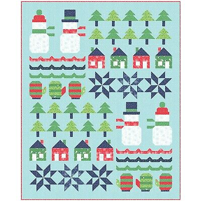 "Snowman Sampler Quilt Kit 57"" x 71"" with Moda Snow Day Fabric by Stacy Iest Hsu"