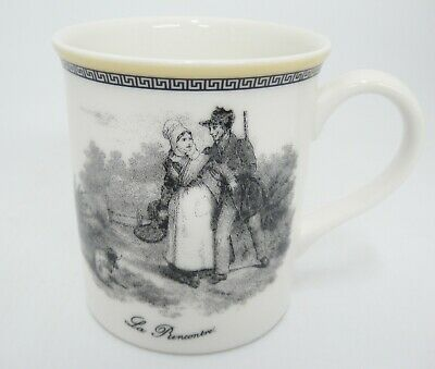 "Villeroy Boch Audun Chasse Mug 3.5"" La Rencontre Yellow Trim Excellent Condition"