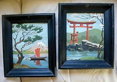 Vintage PBN Paint by Number paintings Asian ORIENTAL MCM 2 pc Framed Good Cond