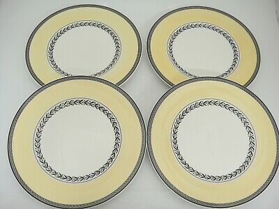 "Villeroy Boch Audun Fleur 4 Salad Plates Yellow Rim Black Band 8.5"" Very Nice"