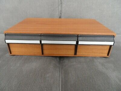 Vintage 3 Drawer Wood Effect - Audio Cassette Tape Storage Box - Holds 36 Tapes