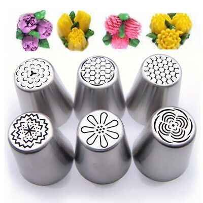 6Pcs Russian Tulip Flower Cake Icing Piping Nozzles Decorating Tip Baking Set CY