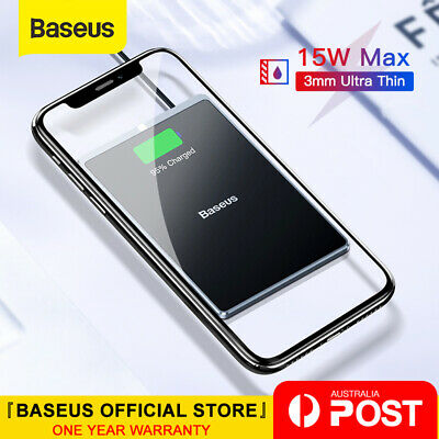 Baseus 15W Qi Wireless Charger Fast Charging Ultra-thin Pad for iPhone Samsung